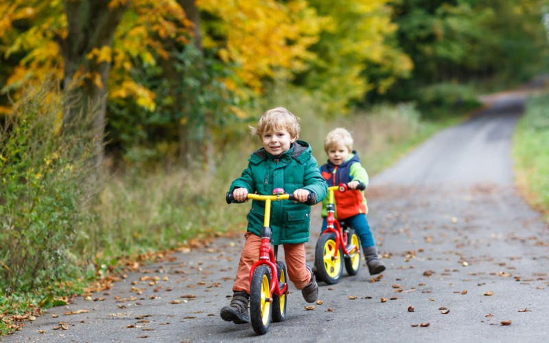 Help teach biking with a balance bike
