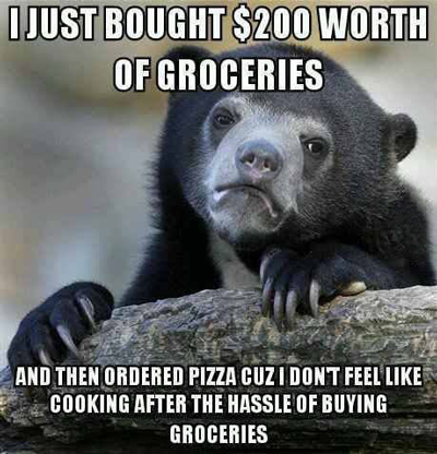 buy groceries don't cook